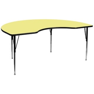Fun & Games Activity Table 48''W x 96''L Kidney Yellow Thermal Laminate Adj Height