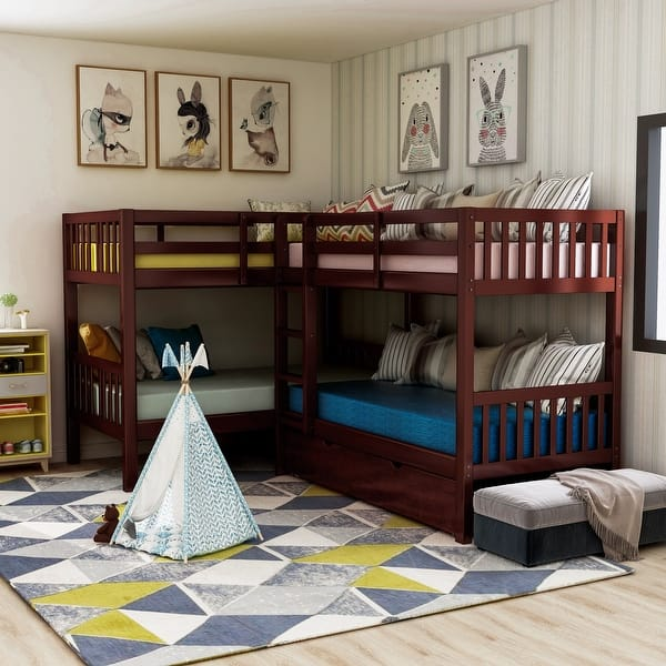 Furniture Of America Jis Modern Twin Solid Wood L Shaped Bunk Bed Overstock 14406666