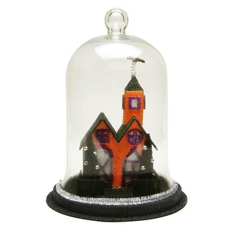 """9.75"""" Color Changing LED Spooky House with a Bat on the Spire Roof Halloween Cloche - Clear"""