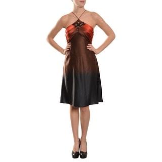 Marc Bouwer Ombre Silk Spaghetti Strap Beaded Evening Dress