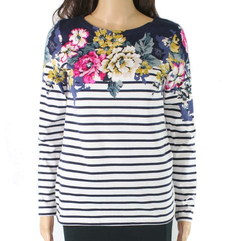 Joules Women's Top Blue Ivory Size 2 Knit Floral Striped Scoop Neck