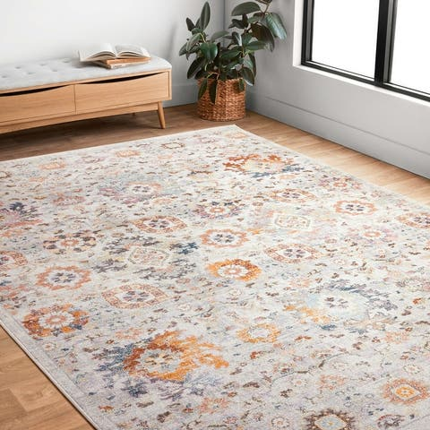 Alexander Home Jennifer Collection Floral & Botanical Motif Distressed Area Rug