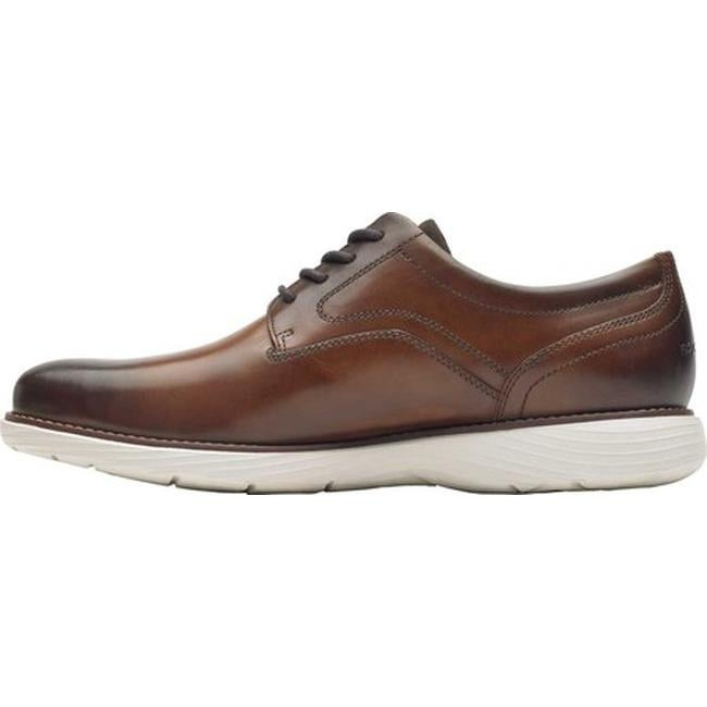 Rockport Mens Garett Plain Toe Leather Upper Shoe in Cognac Brown