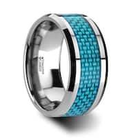 AUGUSTUS Blue Carbon Fiber Inlay Tungsten Carbide Band - 4mm - 10mm