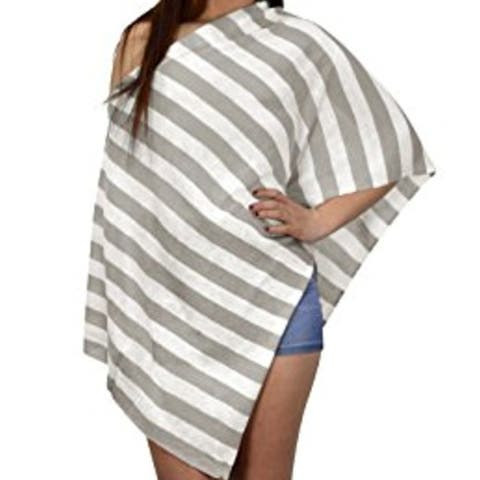 Womens Summer Fashion Light Weight Striped Poncho Shrug Cover Up