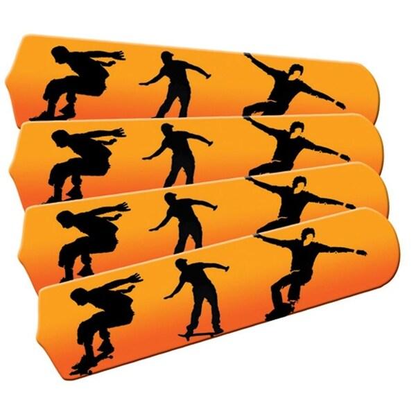 Orange Skateboarder Designer 42in Ceiling Fan Blades Set - Multi