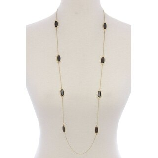 Oval Shape Stone Long Necklace - Color - Gold Gray