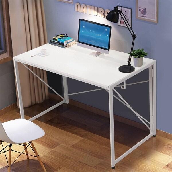 NOVA FURNITURE Home Office Computer Desk, Study Writing Desk Folding Learning Desk for Small Apartment Waterproof -White Desktop. Opens flyout.