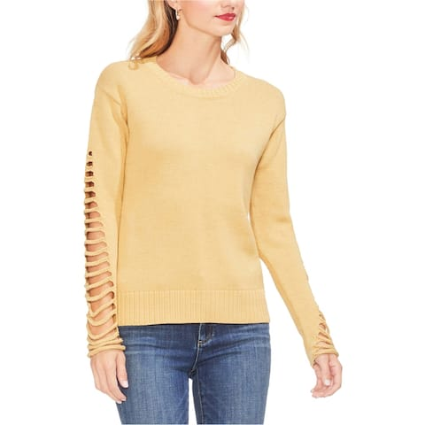 Vince Camuto Womens Lattice Sleeve Pullover Sweater, Yellow, Large