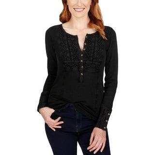 Lucky Brand Womens Henley Top Crochet Long Sleeve