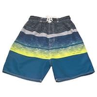 Quad Seven Boys Neon Yellow Blue Wavy Pattern Swimwear Trunks