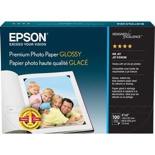 "Epson Premium Photo Paper - 4"" x 6"" - High Gloss - 100 / Pack - White"
