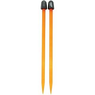 """Crystalites Single Point Knitting Needles 10""""-Size 13/9mm - Orange"""