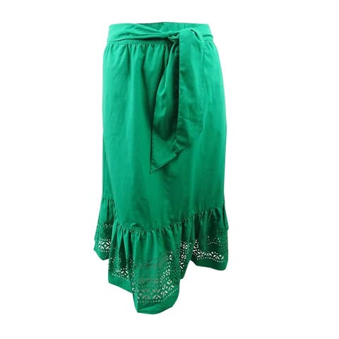 Lauren by Ralph Lauren Women's Plus Size A-Line Poplin Midi Skirt (14W, Green) - Green - 14W