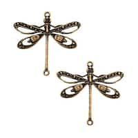 Brass Filigree Dragonfly Connector 23.5x24mm (2 Pieces)