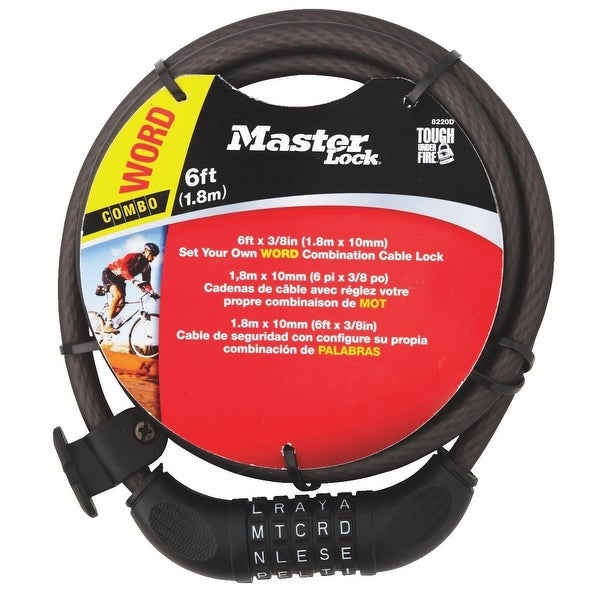 """Master Lock 8220D Set Your Own WORD Combination Steel Cable Lock 3//8/"""" x 6/'"""