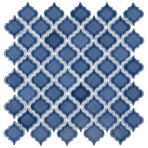 "SomerTile Hudson Tangier Denim Blue 12.38"" x 12.5"" Porcelain Mosaic Tile"