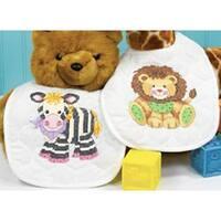 "Baby Hugs Baby Express Bibs Stamped Cross Stitch Kit-9""X14"" Set Of 2"