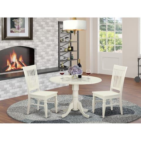 DLWE3-W 3 PC Table set-Dinette Table and 2 Dining Chairs in
