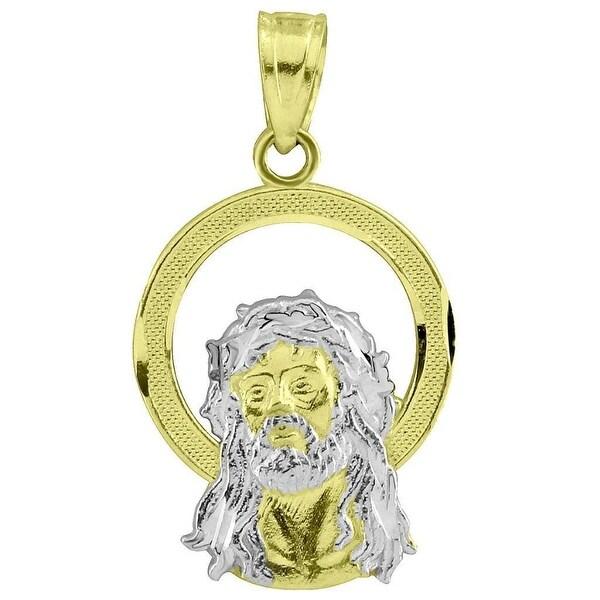 "Jesus Face Halo Pendant 10k Yellow White Real Gold Mini Christ 0.9"" Charm"