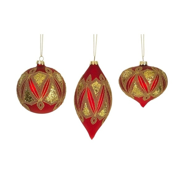 """Pack of Red and Gold Glass Embellished Pattern Christmas Tree Ornaments 5""""H-3.75""""H"""