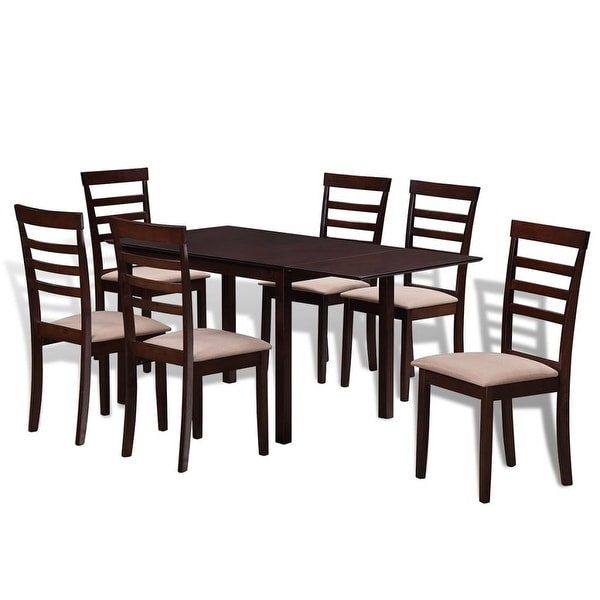 VidaXL Brown Cream Solid Wood Extending Dining Table Set With 6 Chairs