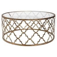 """42"""" Quatrefoil Antique Gold Iron and Clear Tempered Glass Round Coffee Table"""