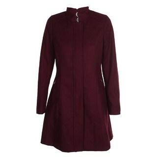 Calvin Klein Beet Wool-Blend Buckled Stand-Collar Walker Coat S