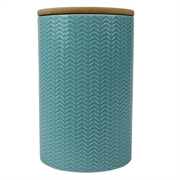 Wave Large Ceramic Canister, Turquoise. Opens flyout.