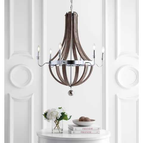 "Georgia 30"" Wood LED Chandelier, Antique Grey/Chrome by JONATHAN Y"