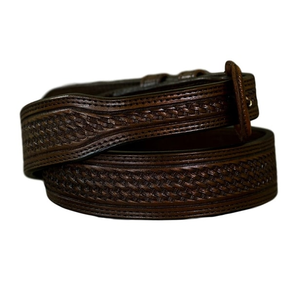 Vogt Silversmiths Western Belts Mens Basketweave Saddle Brown