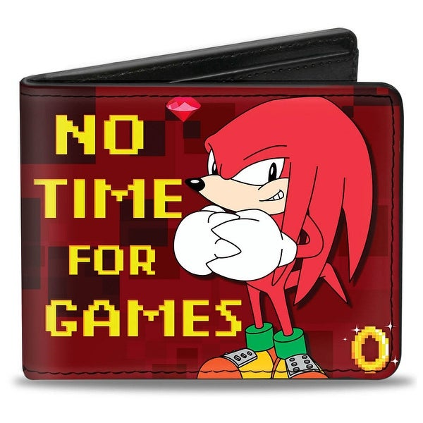 Sonic Classic Knuckles Pose No Time For Games Rings Diamonds Reds Gold Bi Bi-Fold Wallet - One Size Fits most