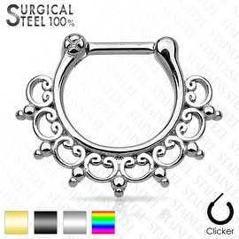 Lace Tribal Fan 316L Surgical Steel Septum Clicker (Sold Ind.)