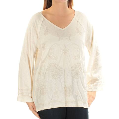 STYLE & CO Womens Ivory Embroidered Paisley Long Sleeve V Neck Top Size: L