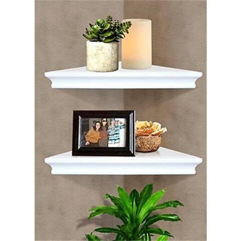 Set of 2 Floating Corner Wall Shelf Home Decor Furniture Shelves