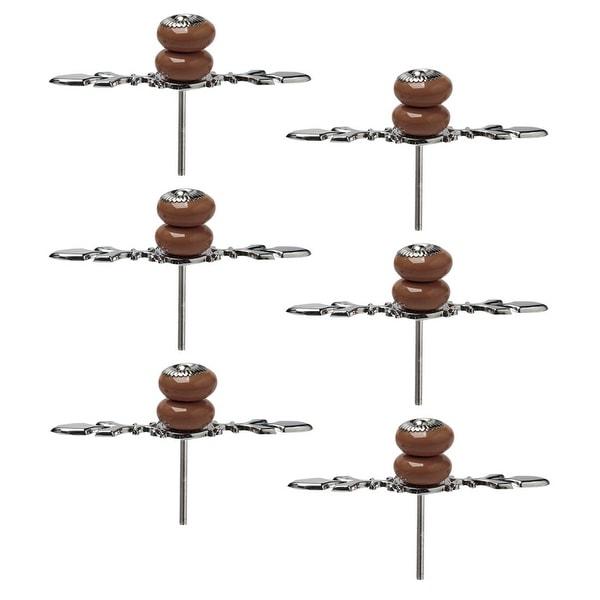 Ceramic Knobs Drawer Handle Cupboard Wardrobe Cabinet Accessories 6pcs Brown