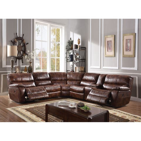ACME Brax 2-tone Brown Leather Gel Power Motion Sectional Sofa