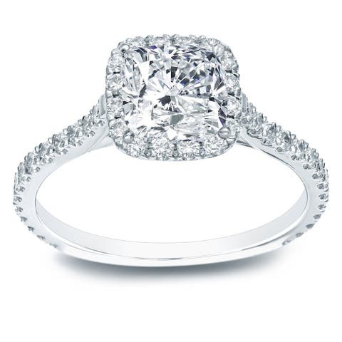 Auriya 14k Gold 1 1/2ctw Cushion-cut Halo Diamond Engagement Ring Certified