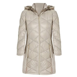 Link to Michael Kors Womens Taupe 3/4 Down Hooded Packable Coat Similar Items in Women's Outerwear