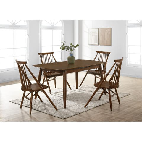 Picket House Furnishings Soren 5PC Dining Set in Walnut Cherry - Table & Four Chairs