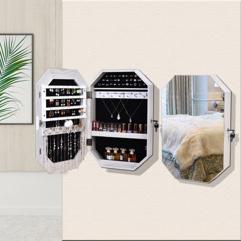 Simple Wall-Mounted Display Cabinet Full Mirror Jewelry Cabinet