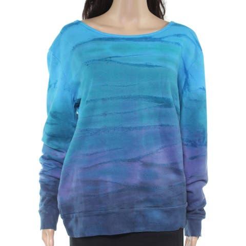 prAna Womens Sweater Blue Size Medium M Pullover Cotton Ombre Scoop Neck