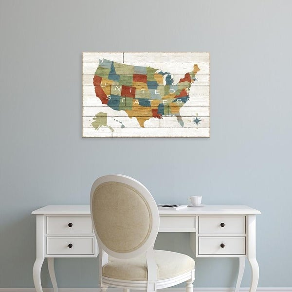 Easy Art Prints Sue Schlabach's 'Barbboard Map' Premium Canvas Art
