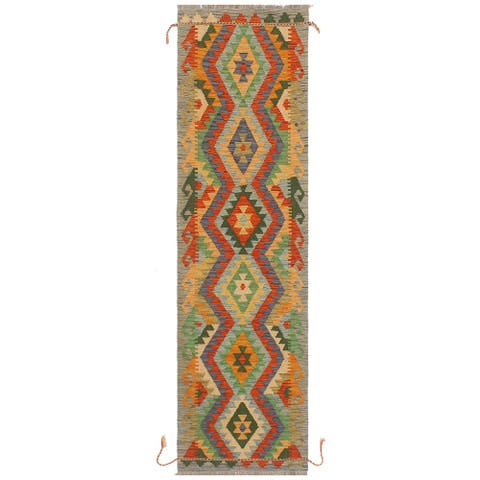 "Rustic Kilim Broderic Blue Grey Hand Woven Rug - 2'0"" x 6'6"" - 2'0"" x 6'6"""