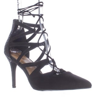 Rampage Sleepless Lace Up Pointed Toe Dress Pumps - Black