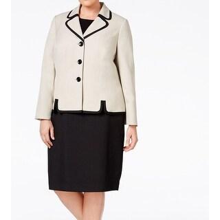 Le Suit NEW Beige Black Contrast Women's Size 22W Plus Skirt Suit Set