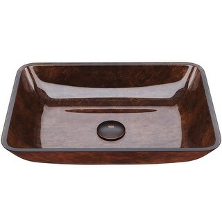 Link to VIGO Russet 18-inch Rectangular Glass Vessel Bathroom Sink Similar Items in Sinks