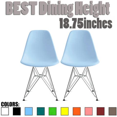 2xhome Set of 2 Modern Color Pyramid Seat Height DSW Molded Armless Plastic Dining Room Chairs Chrome Wire Eiffel Dowel Legs