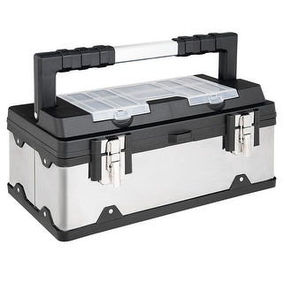 Costway 18 Inch Tool Box Stainless Steel and Plastic Portable Organizer w/ Lid Organizer - as pic
