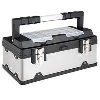 Costway 18 Inch Tool Box Stainless Steel and Plastic Portable Organizer w/ Lid Organizer